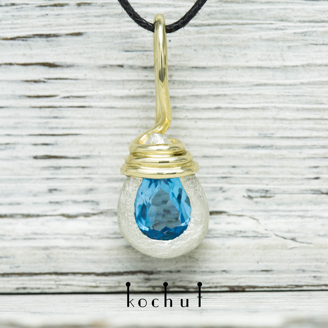 Elemental Power — silver pendant with gold and topaz