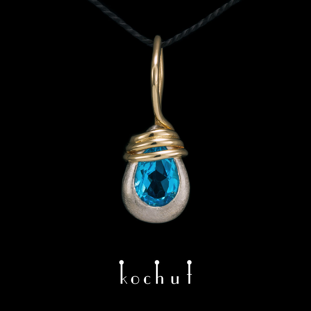 """The pendant """"The Power Element"""". Silver, gold, topaz"""