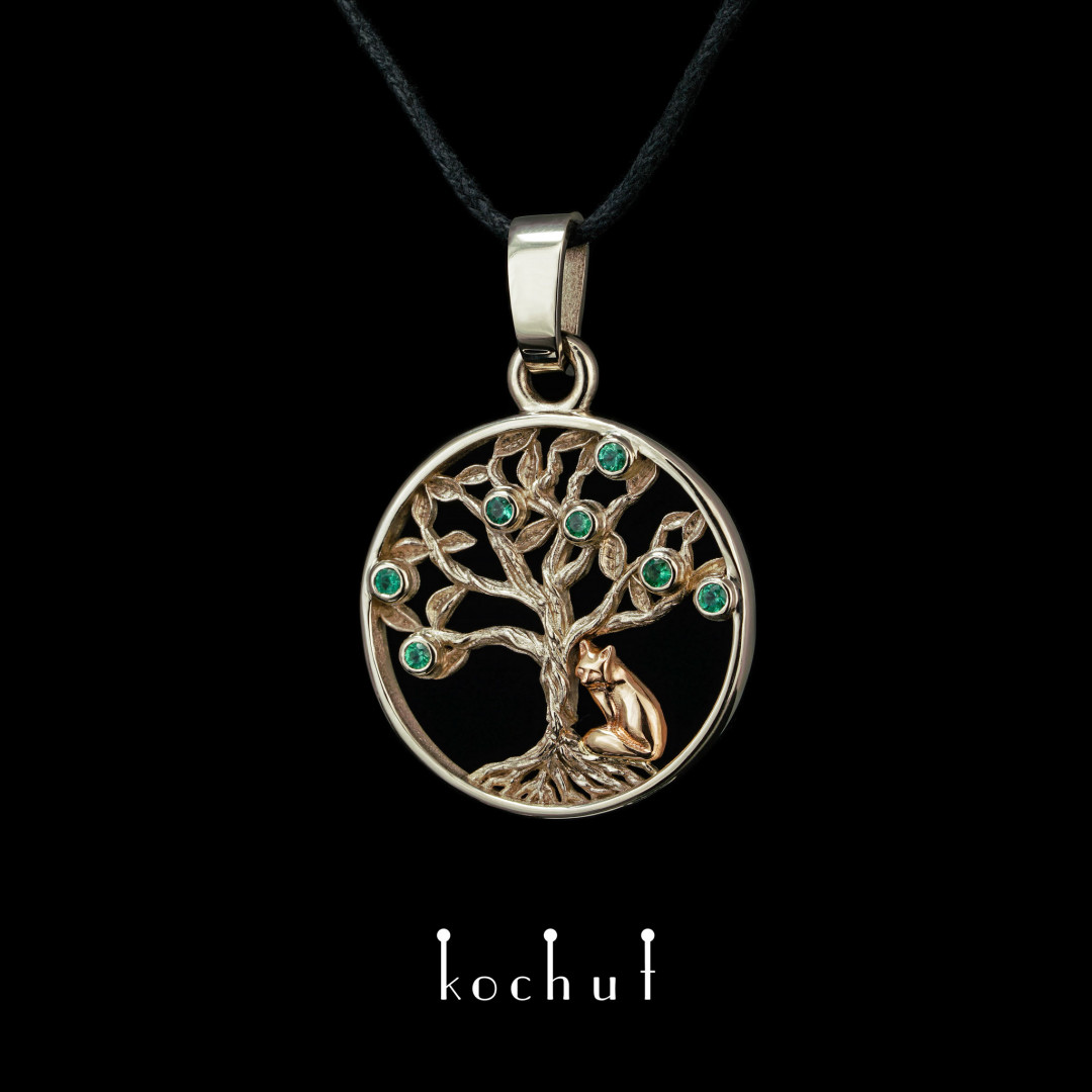 The pendant «The Emerald Tree». White, red gold, emeralds