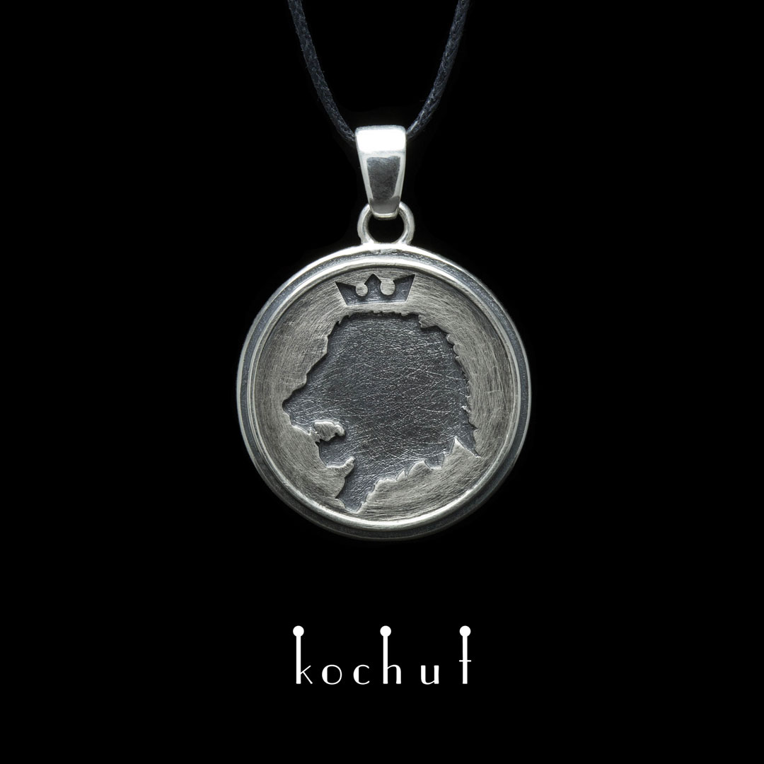 The pendant «The King of Beasts». Silver, oxidation