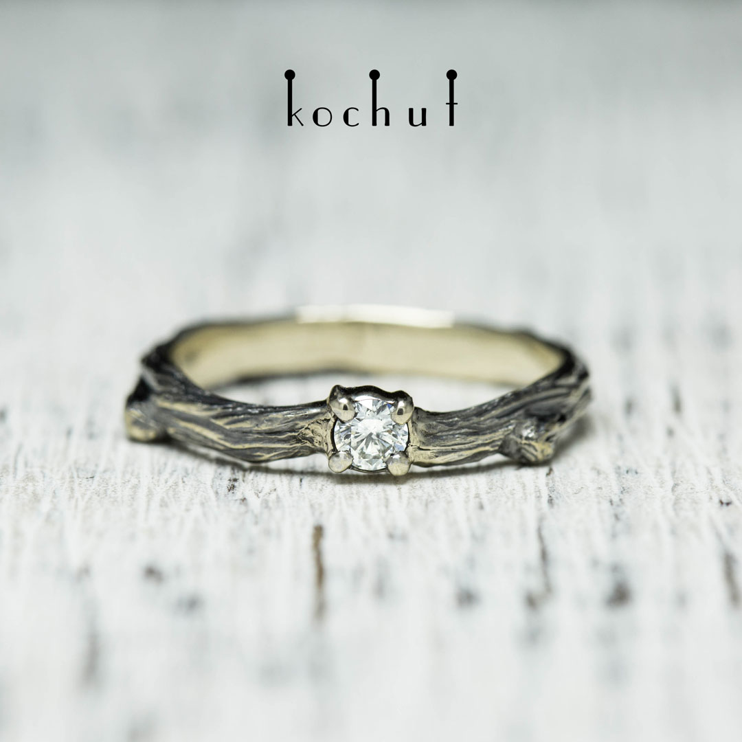 "Engagement ring ""Fragile twig"". White gold, black rhodium, diamond"