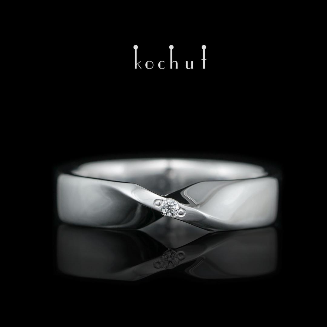 """Ring """"Mobius ribbon"""". Silver, cubic zirkonia, white rhodium"""