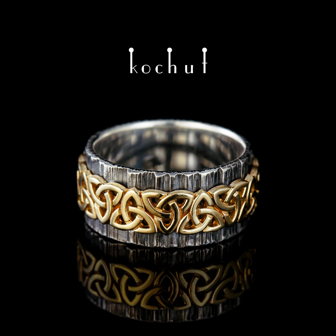 """Wide ring """"Celtic pattern"""". Silver, yellow gold, oxidation"""