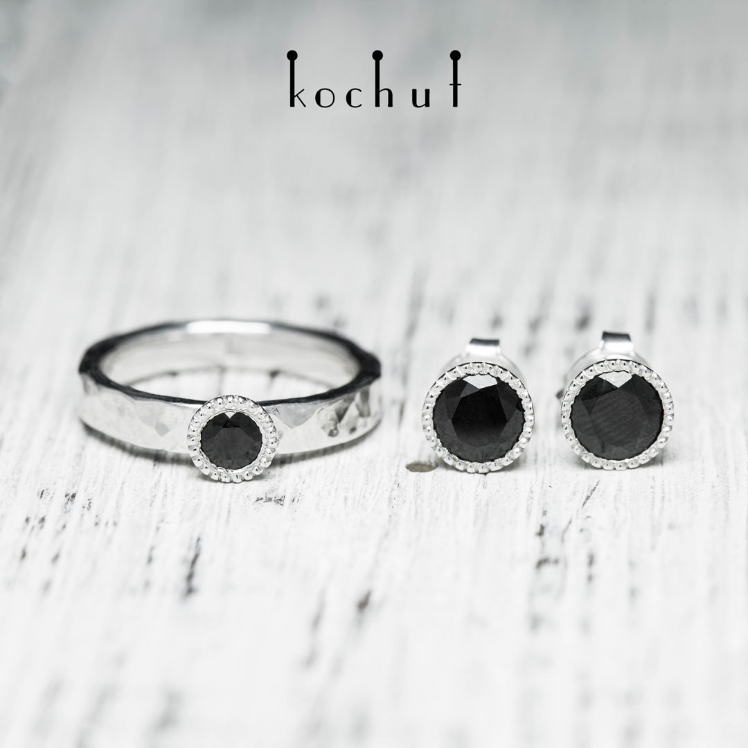 Vitamins — silver set with black spinel