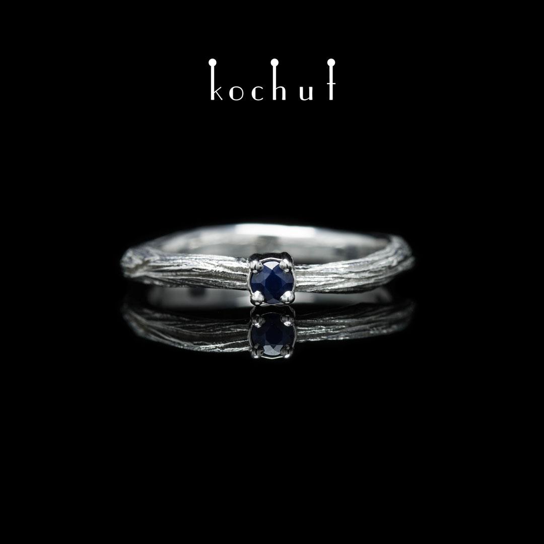 Ring «Winter twig».  Silver, sapphire, white rhodium