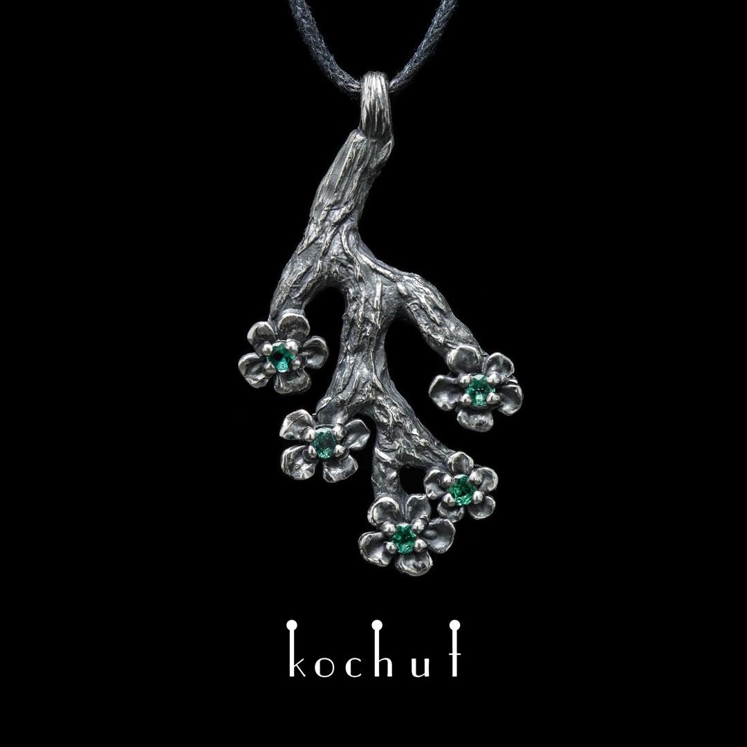 The pendant «Sakura». Silver, emeralds, oxidation