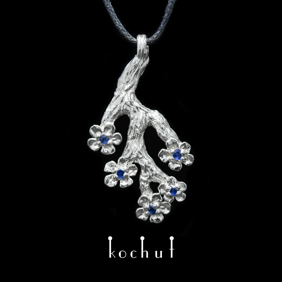 The pendant «Sakura». Silver, sapphires, white rodium