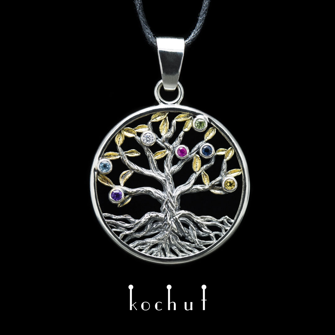 Pendant «The Tree of the Universe». Silver, oxidation, gilding, precious stones