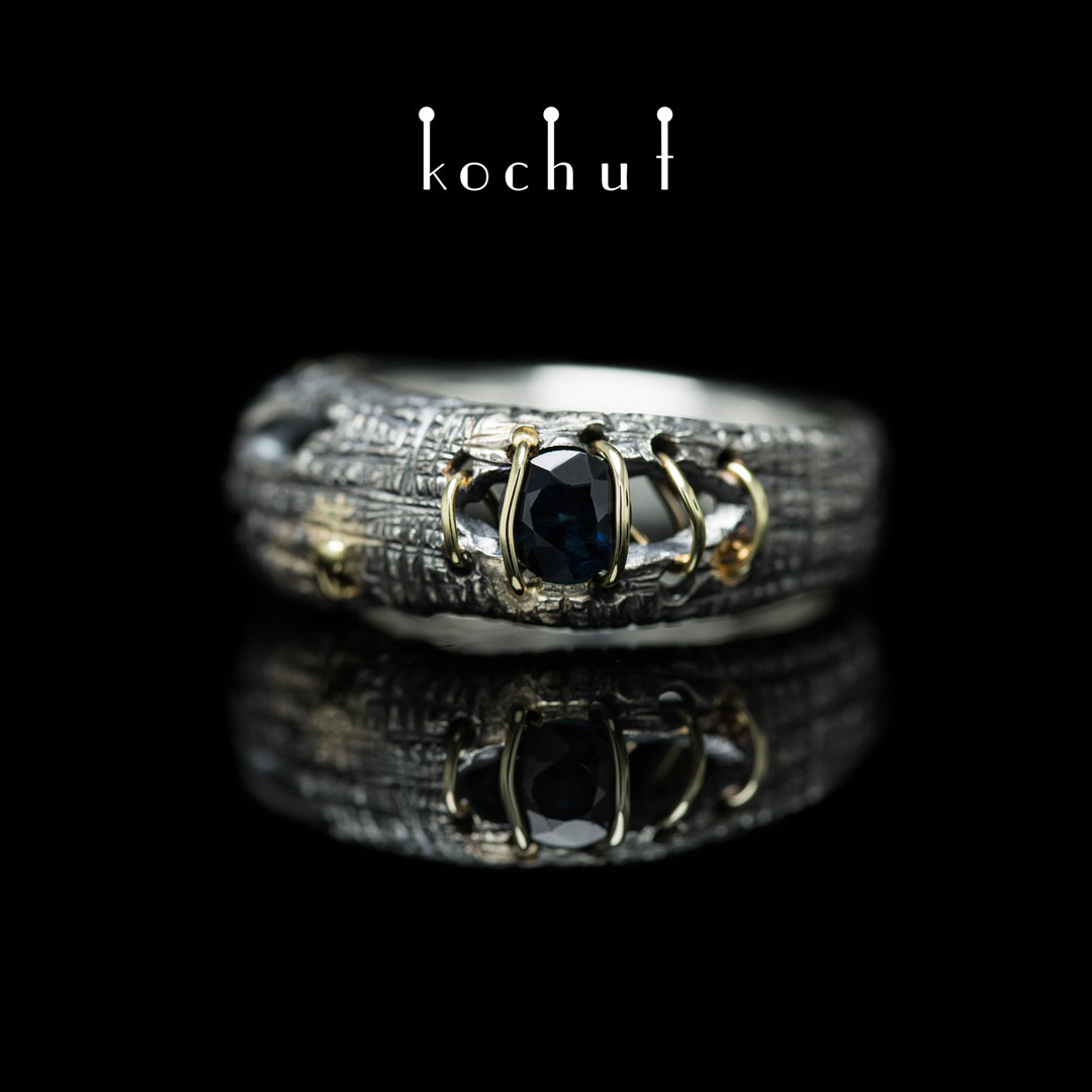 Ring «Healing». Silver, yellow gold, sapphire