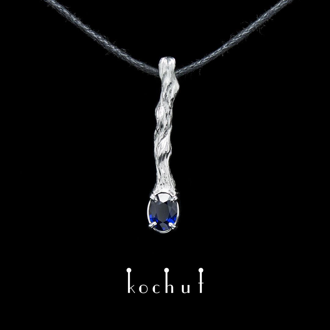 The pendant «Twig». White gold, white rhodium, sapphire
