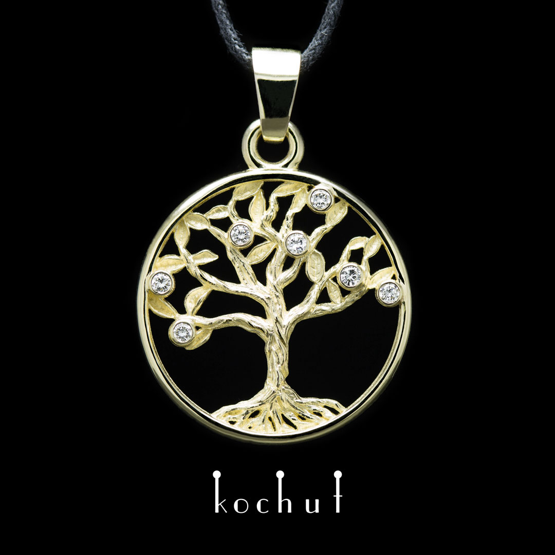 The pendant «Tree of life». Yellow gold, diamonds