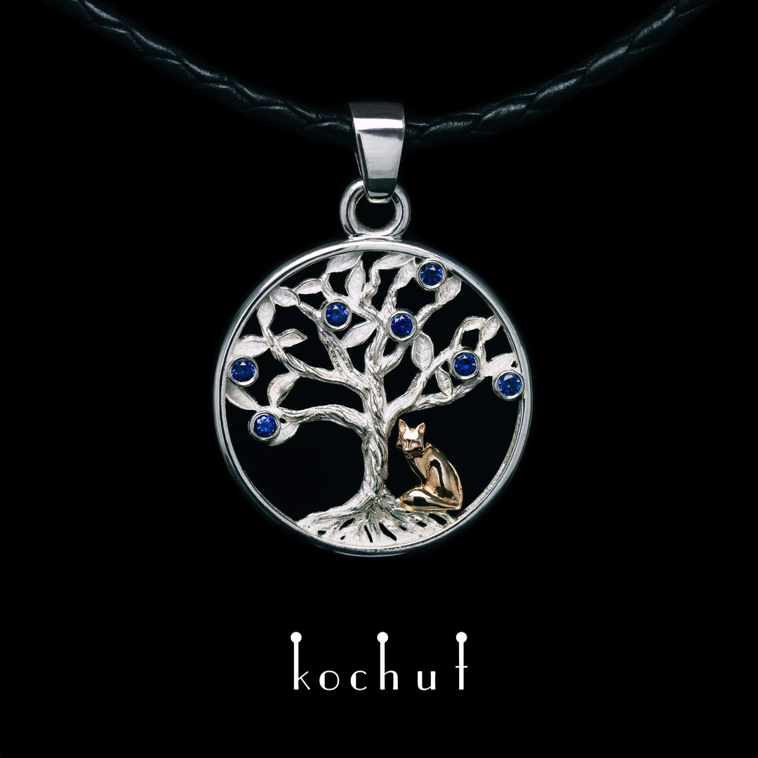 Pendant «Sapphire tree. The Little Fox.» Silver, red gold, sapphires