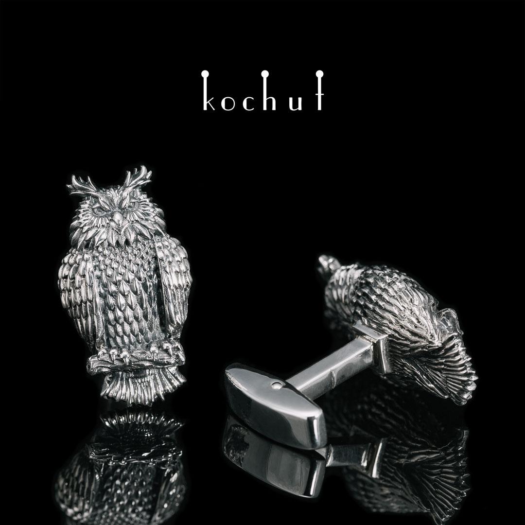 Cufflinks «Owls». Silver, oxidation