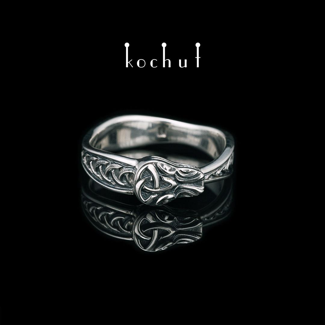 Ring «Celtic Oroboros». Silver, oxidation