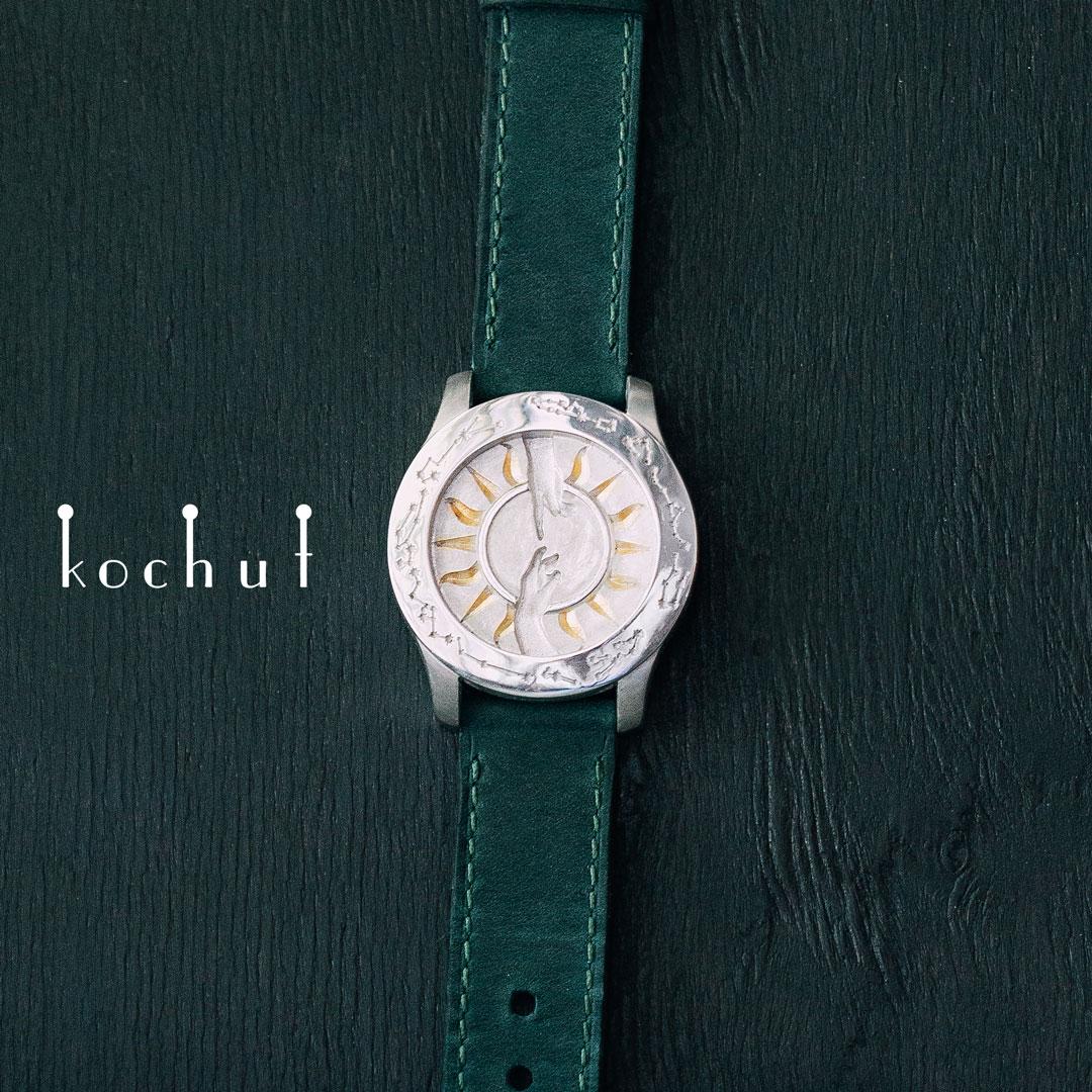 Stylized bracelet «The Creation of Adam». Silver, gilding, genuine leather, white rhodium
