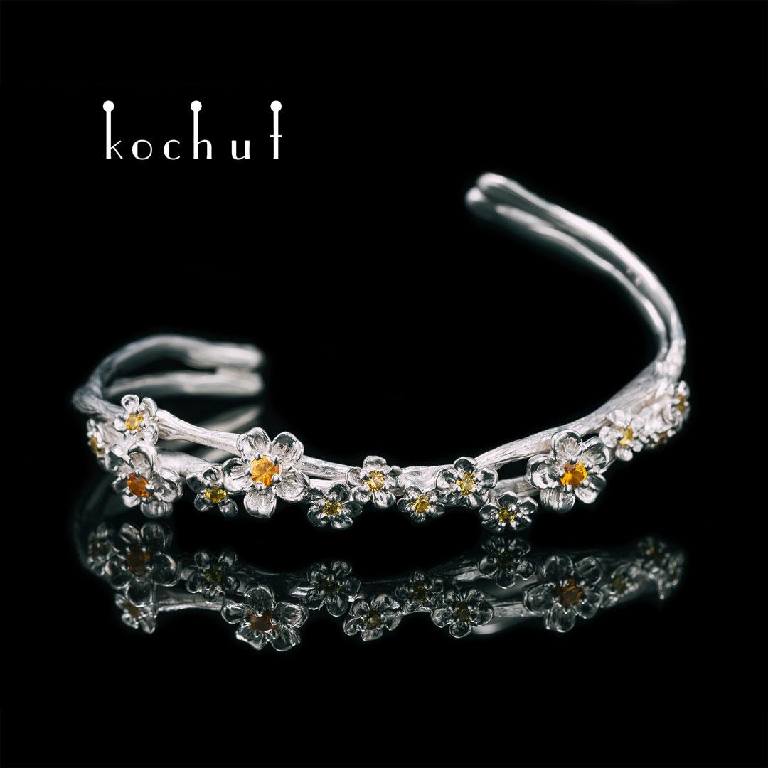 Bracelet «Blooming». Silver, white rhodium, yellow and orange sapphires