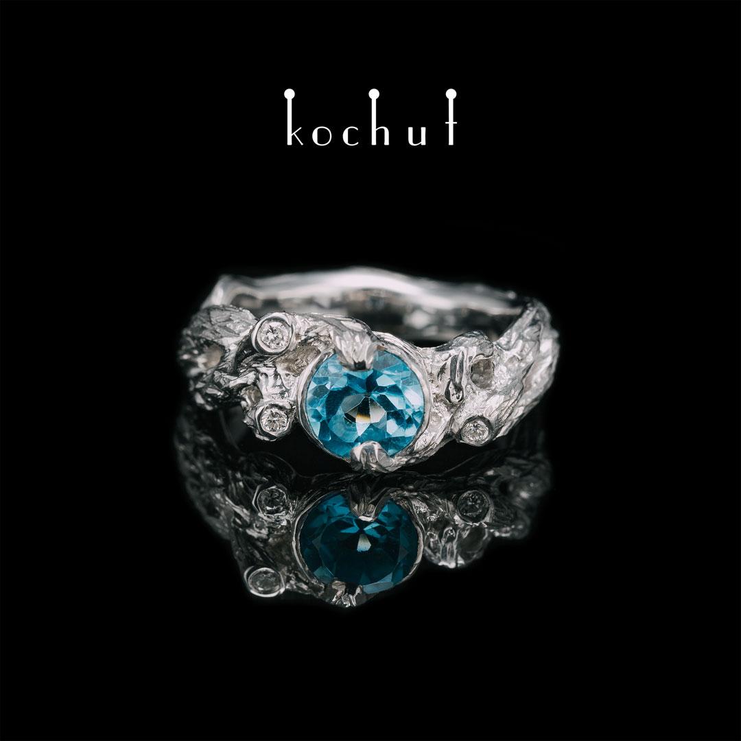 Ring «New Weaving». Silver, topaz, diamonds, white rhodium