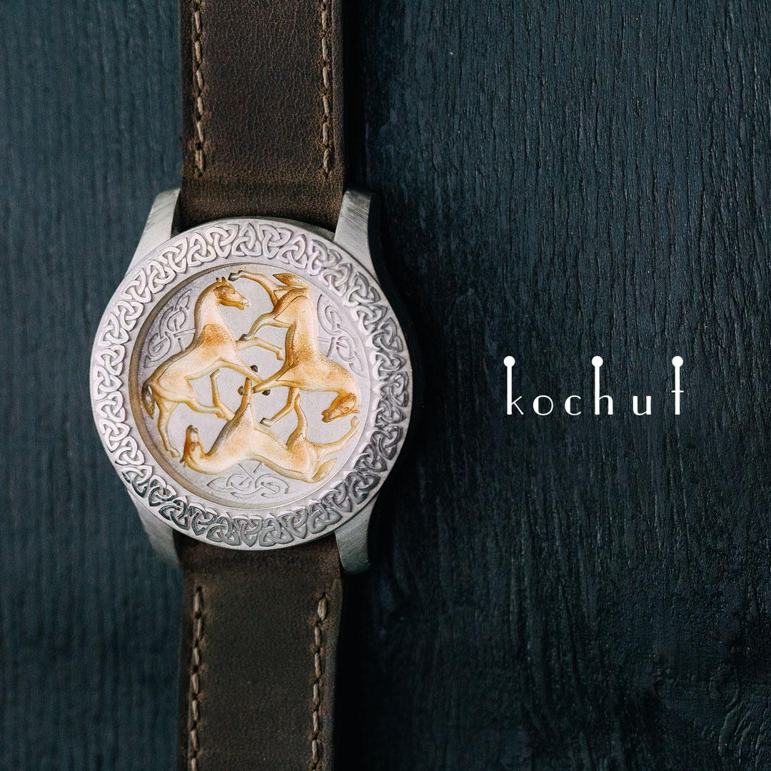 Stylized bracelet «The illusion oftime». Silver, gilding, white rhodium, genuine leather