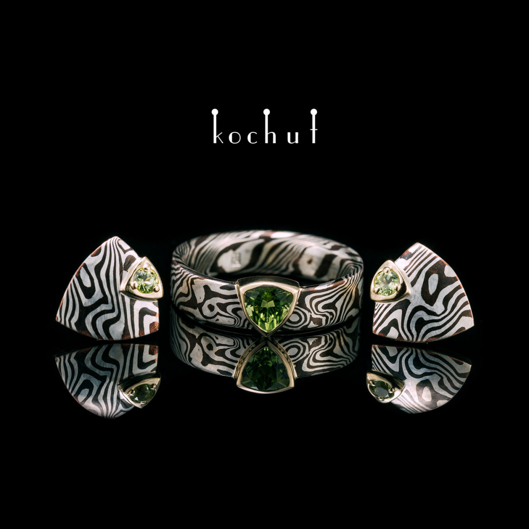 Set «Mokume. Seiche». Silver, yellow gold, shakudo, chrysolites