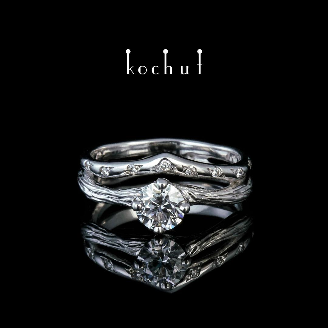 Engagement ring «Elven tenderness.» White gold, diamonds, white rhodium