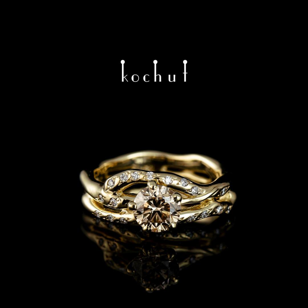 Engagement ring «Cassiopeia». Yellow gold, brown diamond, white diamonds