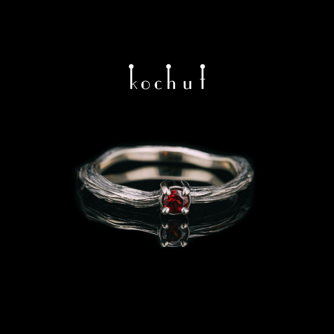 Engagement ring «Winter twig». White gold, garnet, black rhodium