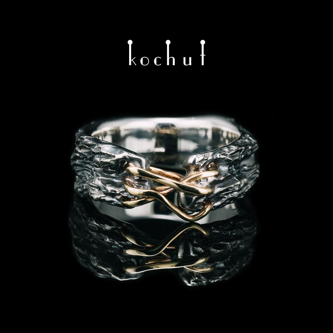 «Self-healing» ring. Yellow gold, silver, oxidation