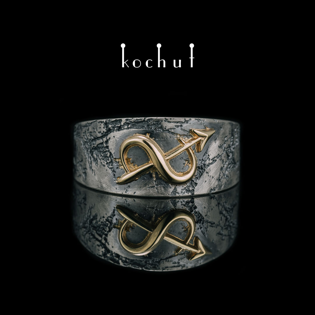 "Ring with the Zodiac sign ""Sagittarius"". Silver and yellow gold, oxidation"