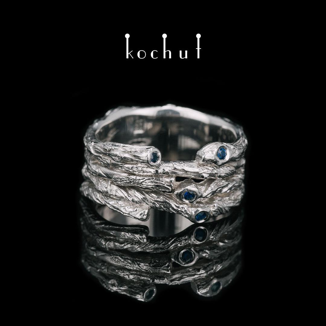 Ring «Wide twig». Silver, sapphire, white rhodium