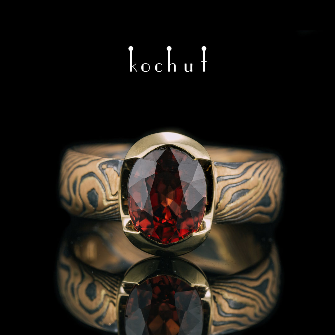 Ring mocume «Sophora. Nectar». Red and yellow gold, etched silver, oxidation, red tourmaline