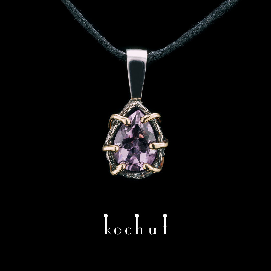 The pendant «Aurora». Yellow gold, sterling silver, amethyst, oxidation