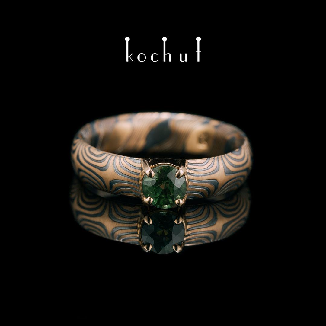 Ring «Mokume» зірки. Silver, gold, green sapphire