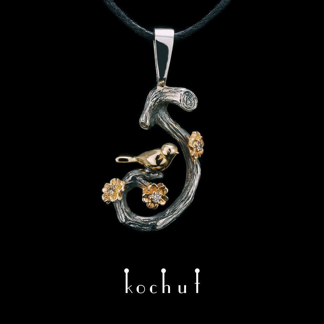 Pendant «Bird on a branch with flowers. Spring». Silver, gold, diamonds, oxidation