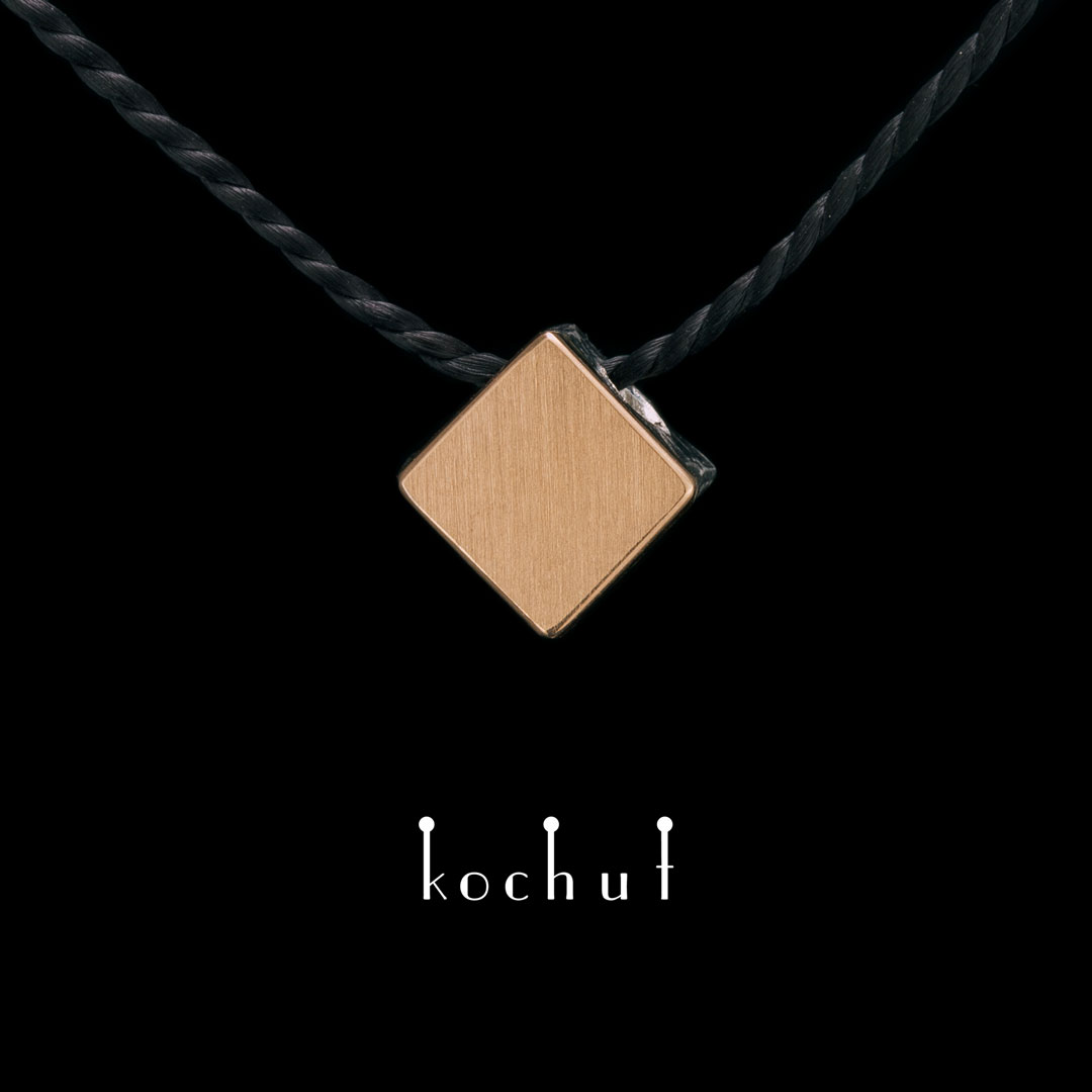 Pendant «Golden square». Silver, red gold, oxidation
