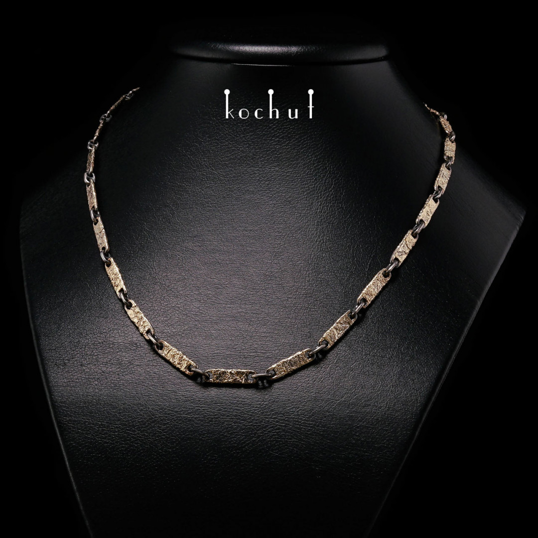 Chain «Soul and Body.» Silver, yellow gold,  oxidation