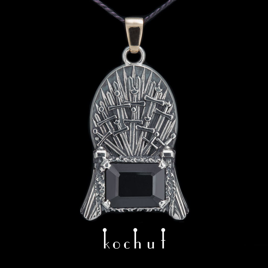 Pendant «Iron Throne». Silver, gold, tourmaline, oxidation