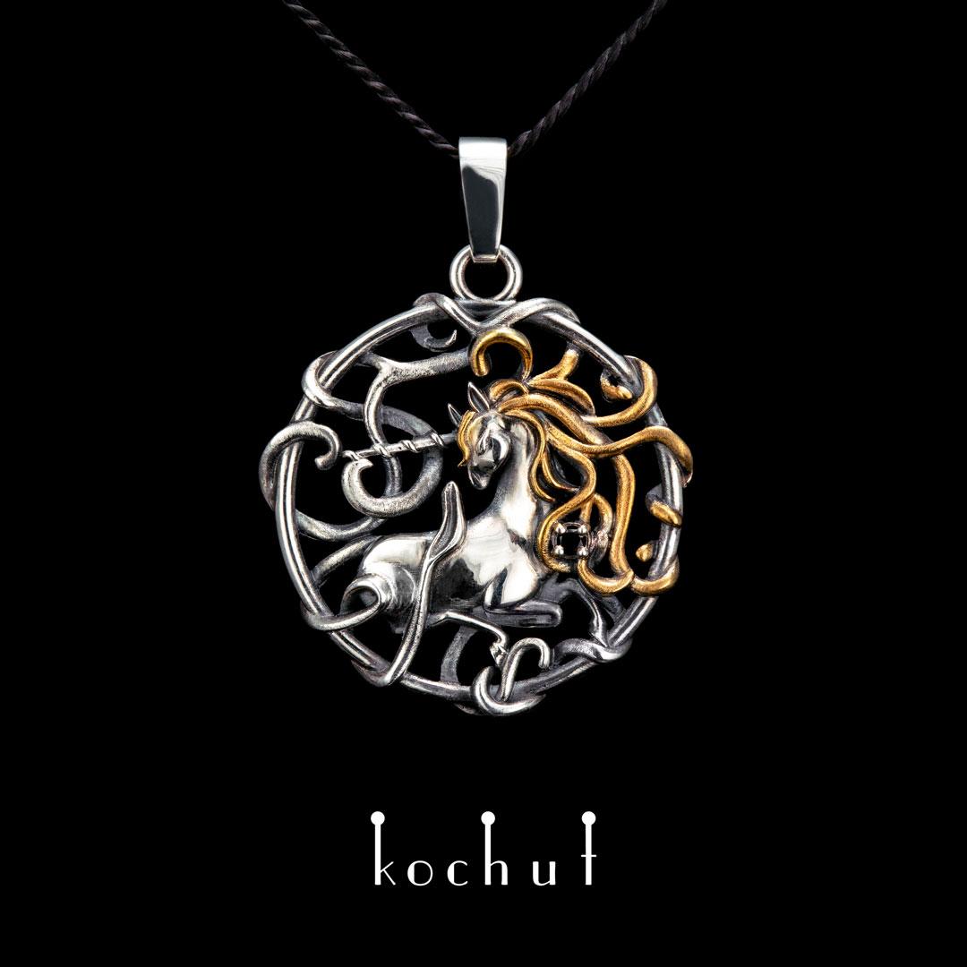 The pendant «Golden haired Unicorn». Silver, oxidation, gilding, smoky quartz