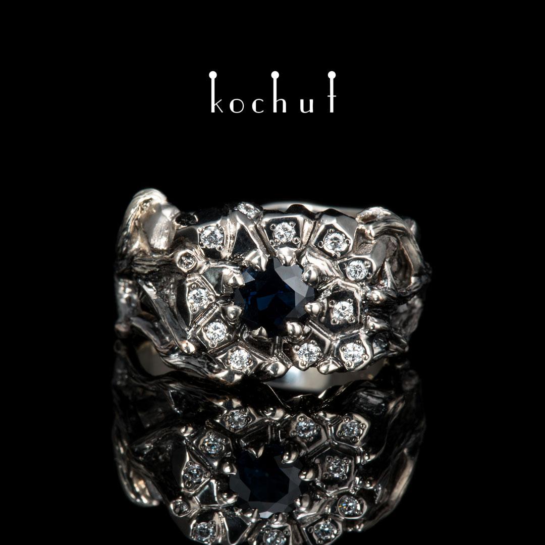 Ring «Dominator». Palladium and white gold, sapphire, diamonds, black rhodium