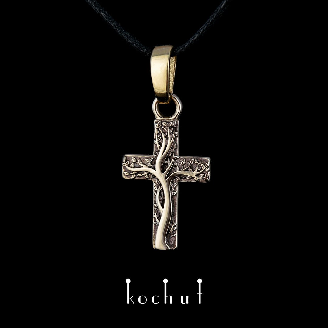 Cross «Roots of faith.» White and yellow gold, black rhodium
