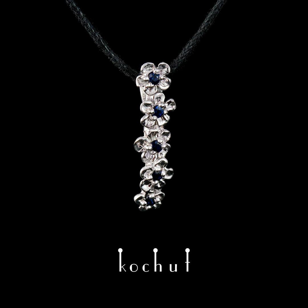 Pendant «Flower». Silver, white rhodium, blue sapphires