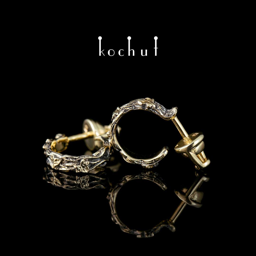 Earrings «Bindweed ». Yellow gold, black rhodium