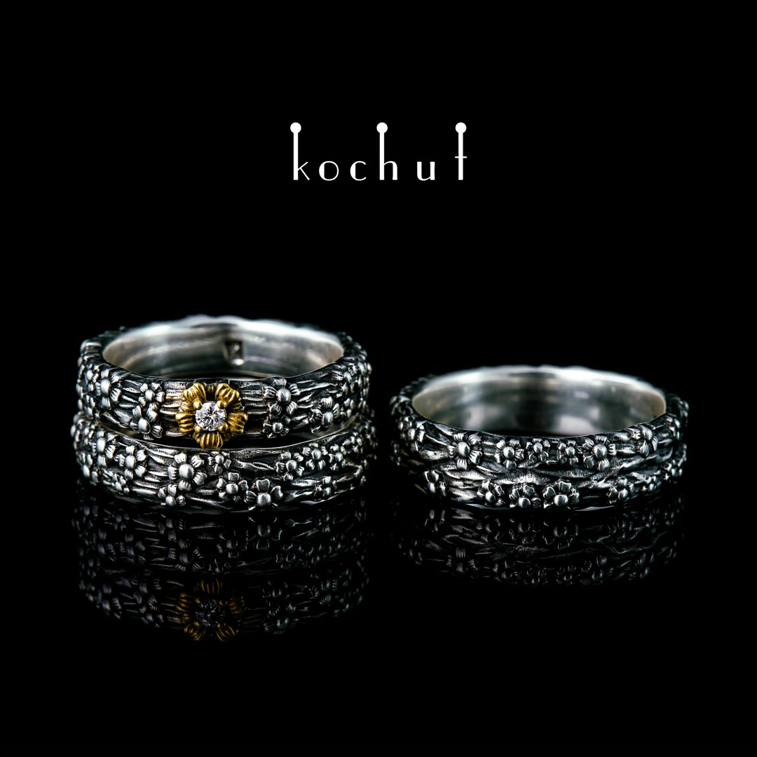 Set: proposal ring and wedding rings «Forget-Me-Not». Silver, oxidation, gilding, diamond