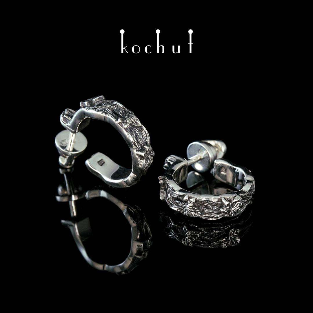 Earrings «Bindweed ». Silver, oxidation
