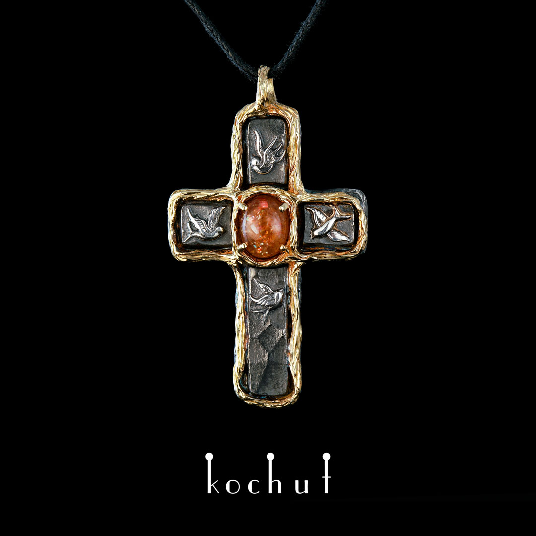 Cross «House of the Sun». Silver, yellow gold, sunstone, oxidation