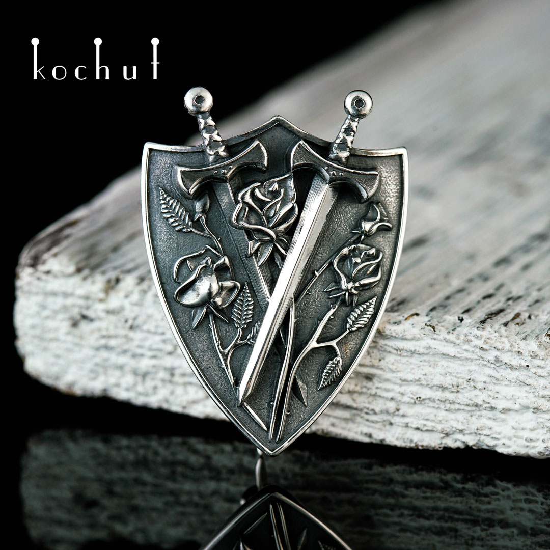 Brooch «Warrior of Love». Silver, oxidation
