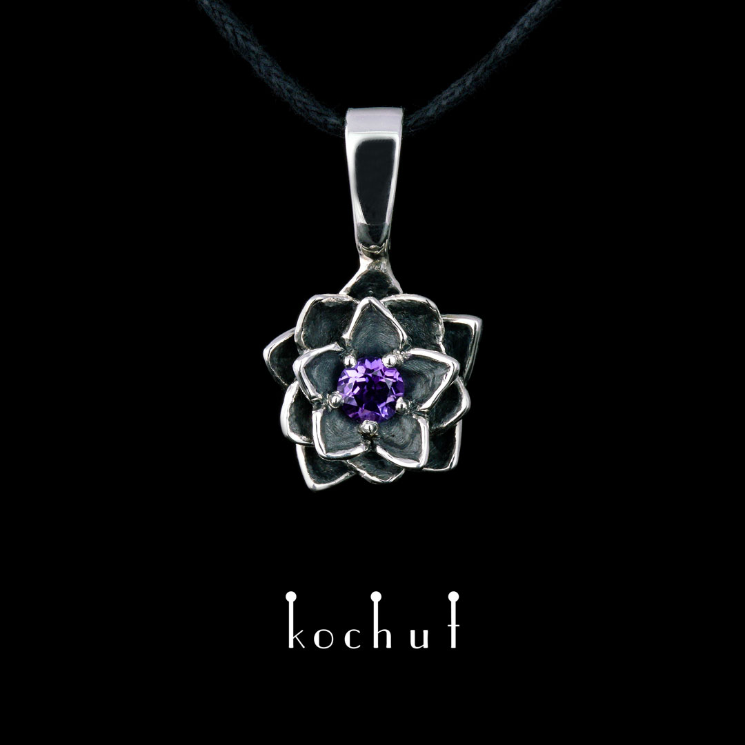 Pendant «Lotus of the heart.» Silver, amethyst, oxidation