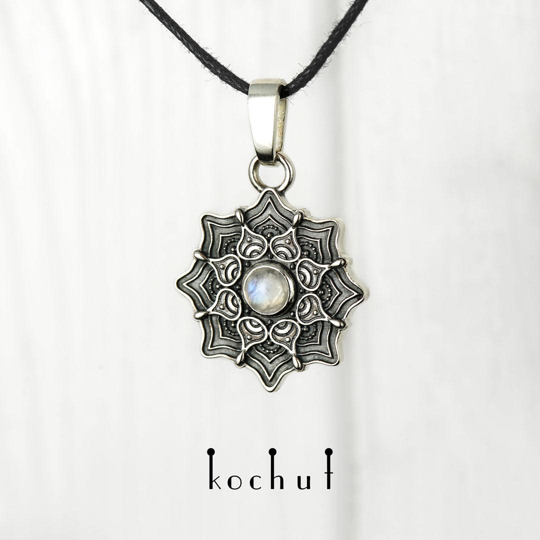 Mandala — silver moonstone pendant