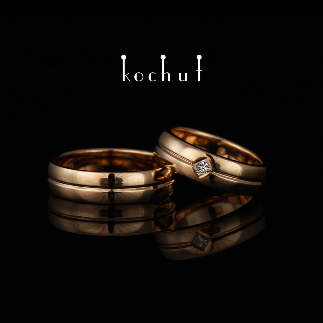 Wedding rings «Axis ofLove». Red gold, diamond