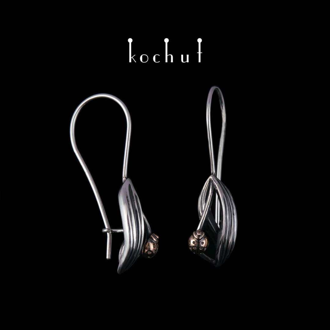 Earrings «Aroma ofsummer». Silver, red gold, oxidation, black rhodium