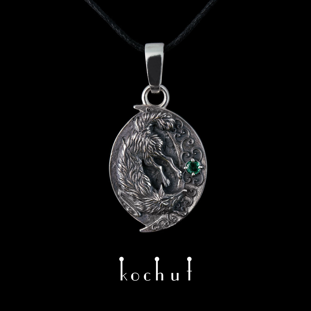 Pendant «Whisper of the night.» Silver, emerald, oxidation